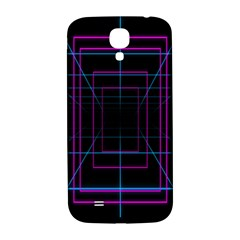 Retro Neon Grid Squares And Circle Pop Loop Motion Background Plaid Purple Samsung Galaxy S4 I9500/i9505  Hardshell Back Case by Mariart