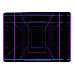 Retro Neon Grid Squares And Circle Pop Loop Motion Background Plaid Purple Samsung Galaxy Tab Pro 12 2  Flip Case by Mariart