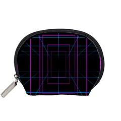 Retro Neon Grid Squares And Circle Pop Loop Motion Background Plaid Purple Accessory Pouches (small)  by Mariart