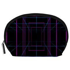 Retro Neon Grid Squares And Circle Pop Loop Motion Background Plaid Purple Accessory Pouches (large)  by Mariart