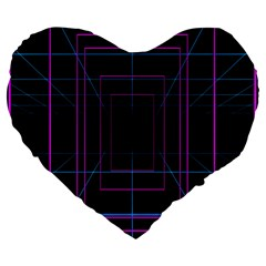 Retro Neon Grid Squares And Circle Pop Loop Motion Background Plaid Purple Large 19  Premium Flano Heart Shape Cushions by Mariart