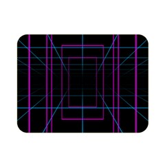 Retro Neon Grid Squares And Circle Pop Loop Motion Background Plaid Purple Double Sided Flano Blanket (mini)