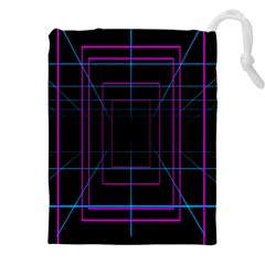 Retro Neon Grid Squares And Circle Pop Loop Motion Background Plaid Purple Drawstring Pouches (xxl) by Mariart