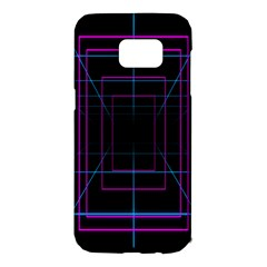 Retro Neon Grid Squares And Circle Pop Loop Motion Background Plaid Purple Samsung Galaxy S7 Edge Hardshell Case by Mariart