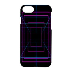 Retro Neon Grid Squares And Circle Pop Loop Motion Background Plaid Purple Apple Iphone 7 Hardshell Case by Mariart