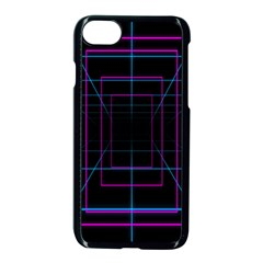 Retro Neon Grid Squares And Circle Pop Loop Motion Background Plaid Purple Apple Iphone 7 Seamless Case (black) by Mariart