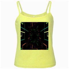 Seamless 3d Animation Digital Futuristic Tunnel Path Color Changing Geometric Electrical Line Zoomin Yellow Spaghetti Tank