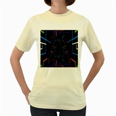 Seamless 3d Animation Digital Futuristic Tunnel Path Color Changing Geometric Electrical Line Zoomin Women s Yellow T Shirt by Mariart