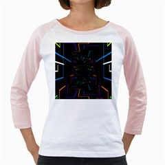 Seamless 3d Animation Digital Futuristic Tunnel Path Color Changing Geometric Electrical Line Zoomin Girly Raglans by Mariart
