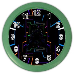 Seamless 3d Animation Digital Futuristic Tunnel Path Color Changing Geometric Electrical Line Zoomin Color Wall Clocks