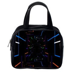 Seamless 3d Animation Digital Futuristic Tunnel Path Color Changing Geometric Electrical Line Zoomin Classic Handbags (one Side) by Mariart