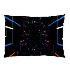 Seamless 3d Animation Digital Futuristic Tunnel Path Color Changing Geometric Electrical Line Zoomin Pillow Case by Mariart