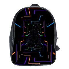 Seamless 3d Animation Digital Futuristic Tunnel Path Color Changing Geometric Electrical Line Zoomin School Bag (large)