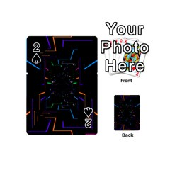 Seamless 3d Animation Digital Futuristic Tunnel Path Color Changing Geometric Electrical Line Zoomin Playing Cards 54 (mini)  by Mariart