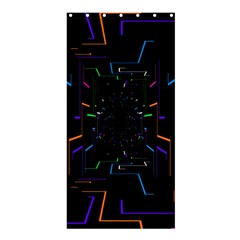 Seamless 3d Animation Digital Futuristic Tunnel Path Color Changing Geometric Electrical Line Zoomin Shower Curtain 36  X 72  (stall)  by Mariart