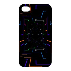 Seamless 3d Animation Digital Futuristic Tunnel Path Color Changing Geometric Electrical Line Zoomin Apple Iphone 4/4s Hardshell Case by Mariart