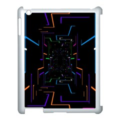 Seamless 3d Animation Digital Futuristic Tunnel Path Color Changing Geometric Electrical Line Zoomin Apple Ipad 3/4 Case (white) by Mariart