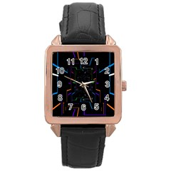 Seamless 3d Animation Digital Futuristic Tunnel Path Color Changing Geometric Electrical Line Zoomin Rose Gold Leather Watch  by Mariart