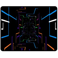 Seamless 3d Animation Digital Futuristic Tunnel Path Color Changing Geometric Electrical Line Zoomin Double Sided Fleece Blanket (medium)  by Mariart
