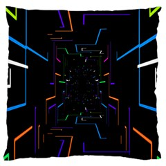 Seamless 3d Animation Digital Futuristic Tunnel Path Color Changing Geometric Electrical Line Zoomin Large Flano Cushion Case (two Sides)