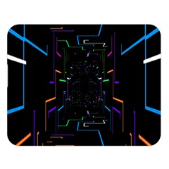 Seamless 3d Animation Digital Futuristic Tunnel Path Color Changing Geometric Electrical Line Zoomin Double Sided Flano Blanket (large)