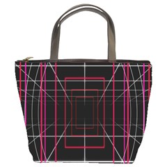 Retro Neon Grid Squares And Circle Pop Loop Motion Background Plaid Bucket Bags by Mariart