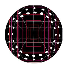 Retro Neon Grid Squares And Circle Pop Loop Motion Background Plaid Round Filigree Ornament (two Sides) by Mariart