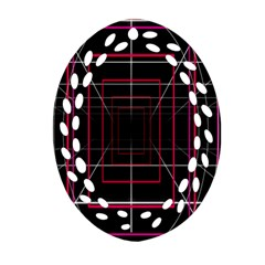 Retro Neon Grid Squares And Circle Pop Loop Motion Background Plaid Ornament (oval Filigree) by Mariart