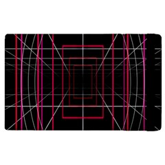Retro Neon Grid Squares And Circle Pop Loop Motion Background Plaid Apple Ipad 2 Flip Case by Mariart