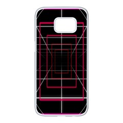 Retro Neon Grid Squares And Circle Pop Loop Motion Background Plaid Samsung Galaxy S7 Edge White Seamless Case by Mariart