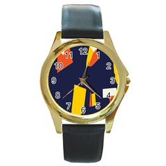 Slider Explore Further Round Gold Metal Watch by Mariart