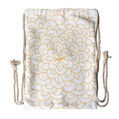 Rosette Flower Floral Drawstring Bag (large)