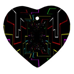 Seamless 3d Animation Digital Futuristic Tunnel Path Color Changing Geometric Electrical Line Zoomin Ornament (heart)