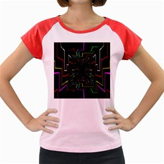 Seamless 3d Animation Digital Futuristic Tunnel Path Color Changing Geometric Electrical Line Zoomin Women s Cap Sleeve T-shirt by Mariart