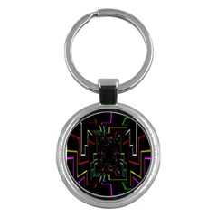 Seamless 3d Animation Digital Futuristic Tunnel Path Color Changing Geometric Electrical Line Zoomin Key Chains (round)  by Mariart