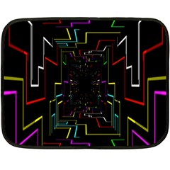 Seamless 3d Animation Digital Futuristic Tunnel Path Color Changing Geometric Electrical Line Zoomin Double Sided Fleece Blanket (mini)  by Mariart