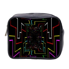 Seamless 3d Animation Digital Futuristic Tunnel Path Color Changing Geometric Electrical Line Zoomin Mini Toiletries Bag 2 Side by Mariart