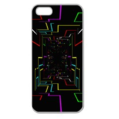 Seamless 3d Animation Digital Futuristic Tunnel Path Color Changing Geometric Electrical Line Zoomin Apple Seamless Iphone 5 Case (clear) by Mariart