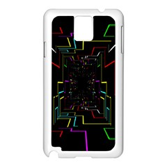 Seamless 3d Animation Digital Futuristic Tunnel Path Color Changing Geometric Electrical Line Zoomin Samsung Galaxy Note 3 N9005 Case (white) by Mariart