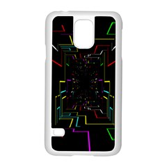 Seamless 3d Animation Digital Futuristic Tunnel Path Color Changing Geometric Electrical Line Zoomin Samsung Galaxy S5 Case (white) by Mariart