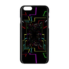 Seamless 3d Animation Digital Futuristic Tunnel Path Color Changing Geometric Electrical Line Zoomin Apple Iphone 6/6s Black Enamel Case by Mariart