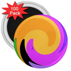 Spiral Digital Pop Rainbow 3  Magnets (100 Pack) by Mariart