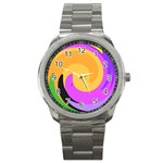 Spiral Digital Pop Rainbow Sport Metal Watch Front