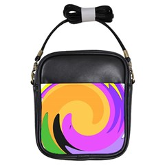 Spiral Digital Pop Rainbow Girls Sling Bags by Mariart