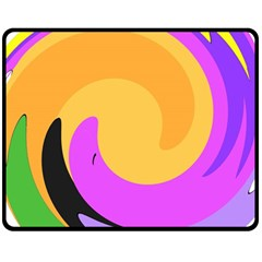 Spiral Digital Pop Rainbow Fleece Blanket (medium)  by Mariart