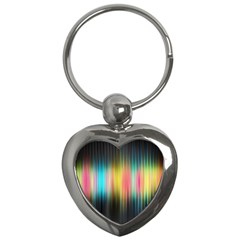 Sound Colors Rainbow Line Vertical Space Key Chains (heart)  by Mariart