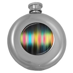Sound Colors Rainbow Line Vertical Space Round Hip Flask (5 Oz) by Mariart