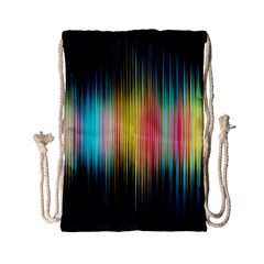 Sound Colors Rainbow Line Vertical Space Drawstring Bag (small) by Mariart