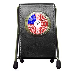 Stars Stripes Circle Red Blue Pen Holder Desk Clocks by Mariart