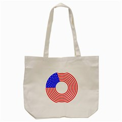 Stars Stripes Circle Red Blue Tote Bag (cream) by Mariart